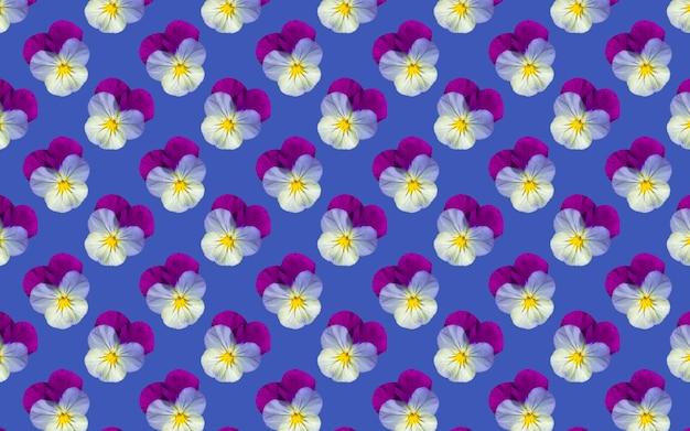 아름다운 팬지 꽃. 개화 팬 완벽 한 패턴입니다. 꽃 자연 배경입니다.