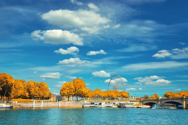 Beautiful paris in autumn, riverside by concorde square