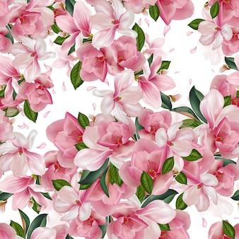 Красивый узор с цветами, листьями и лепестками магнолии.