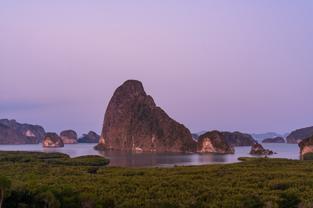 Beautiful phang nga bay with sunset in sametnangshe view point of phang nga province in south of thailand.