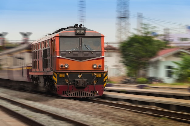 Beautiful photo of old diesel railcar, motion blur