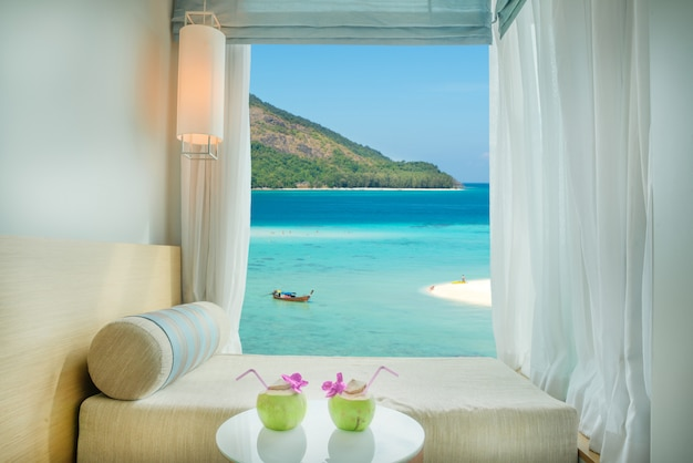 Beautiful phuket tropical sea view at window in resort, phuket ,thailand.