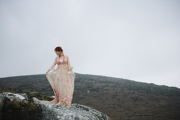 魅力的な淡いピンクのガウンで真っ白な肌を持つ生姜の女性の美しい写真