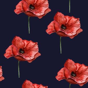 양귀비 꽃의 아름다운 그림. 행복한 현충일. 클로즈업, 위에서 볼 수 있습니다. 공휴일 개념. 가족, 친척, 친구 및 동료를 축하합니다