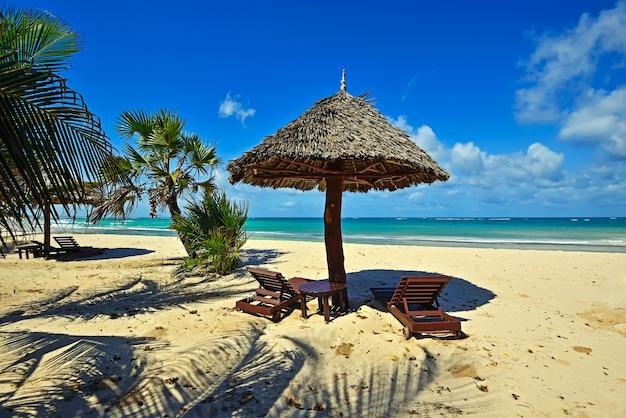 Красивое живописное африканское побережье диани в кении