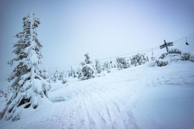 曇りの冬の日の山と木々に囲まれたスキーリゾートに、ケーブルカーのある美しい絵のように美しい冬の斜面があります。国の休息の概念。コピースペース
