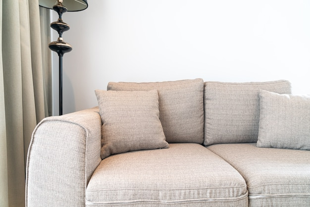 Beautiful pillow decoration on sofa in living room