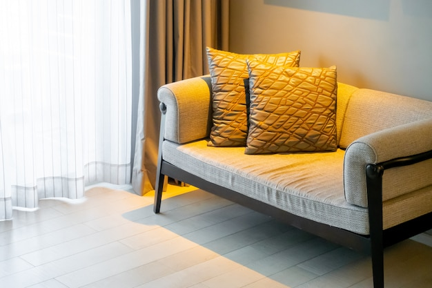 Beautiful pillows decoration on sofa in living room