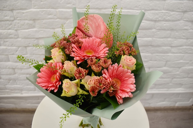 Beautiful pink bouquet with gerberas and roses
