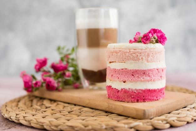 Beautiful pink cream and berries cake
