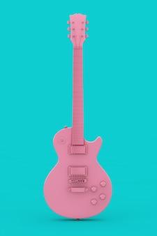 파란색 배경에 복고 스타일 이중톤의 아름 다운 핑크 일렉트릭 기타. 3d 렌더링