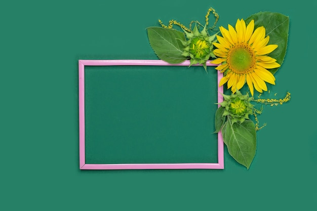 Beautiful pink frame with flowers and empty place on a green background