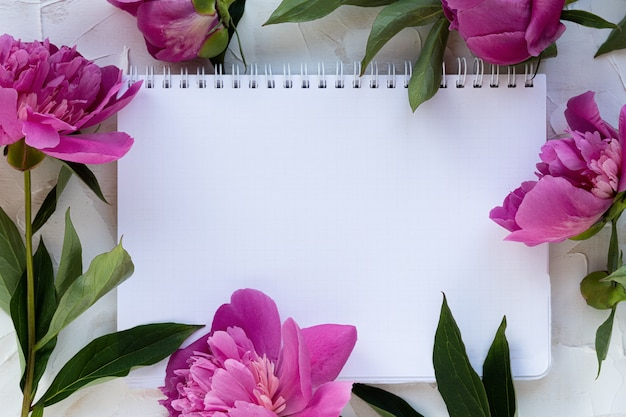 Красивые розовые пионы и белый блокнот на белом фоне цемента. праздничная открытка. праздничная концепция, 8 марта, день матери. вид сверху, место для текста