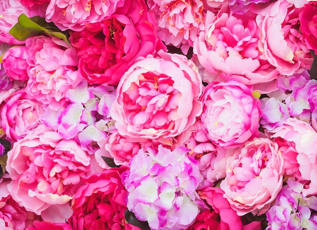 Beautiful of pink peonies. pink flowers. decorations of wedding celebration