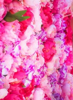Beautiful of pink peonies. pink flowers. decorations of wedding celebration