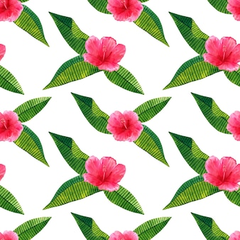 Beautiful pink red flower hibiscus with green tropical leaves. seamless pattern. hand drawn watercolor illustration.