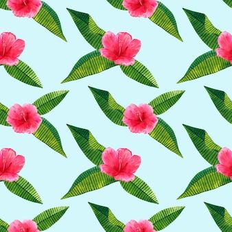 緑の熱帯の葉と美しいピンクの赤い花ハイビスカス。シームレスパターン。手描きの水彩イラスト。