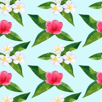 美しいピンクの赤い花のハイビスカスと白いフランジパニまたはプルメリア。シームレスパターン。手描きの水彩イラスト。