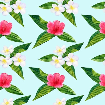 Beautiful pink red flowers hibiscus and white frangipani or plumeria. seamless pattern. hand drawn watercolor illustration.