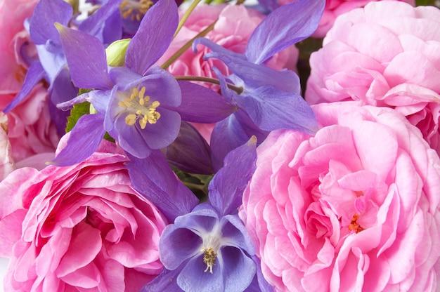 美しいピンクのバラとブルーベルの背景、クローズアップ