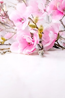 Beautiful pink spring flowers composition over white. magnolia flowers, cherry blooming branches and willow.