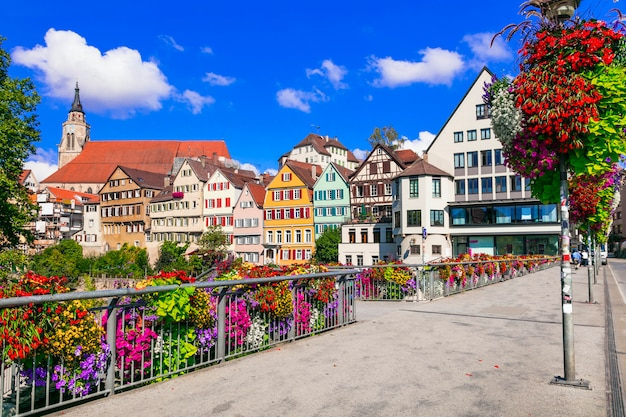 Beautiful places of germany. colorful floral town tubingen