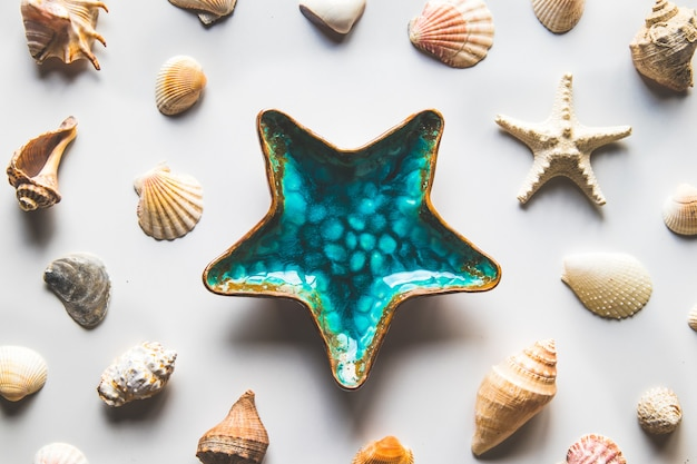Beautiful plate starfish decoration on white background, top view.