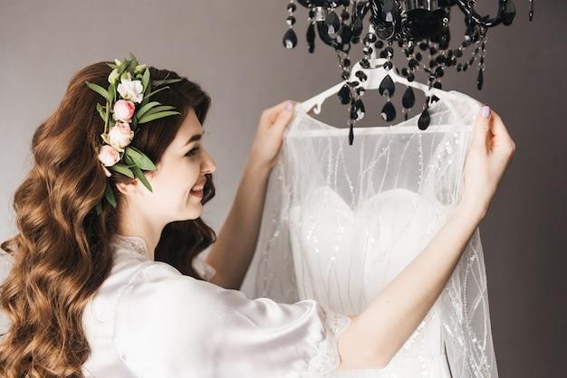 Beautiful portrait of a bride in a peignoir