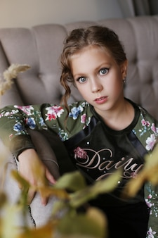 Beautiful portrait of a child girl at home