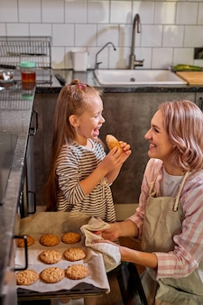 Beautiful portrait of mother and daughter spending time together