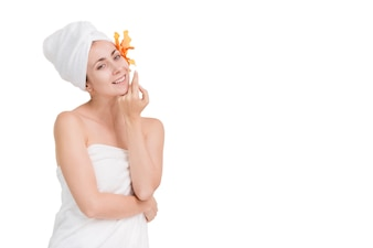 Beautiful portrait spa woman youth and Skin Care Concept, Spa concept on white background