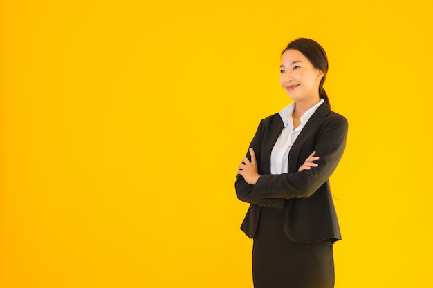 Beautiful portrait young business asian woman happy smile in many action