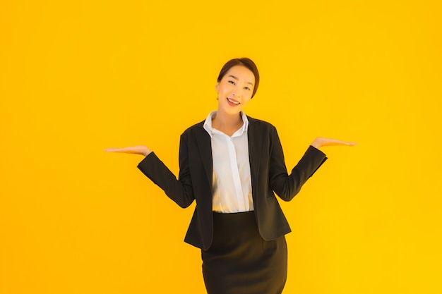Beautiful portrait young business asian woman happy smile