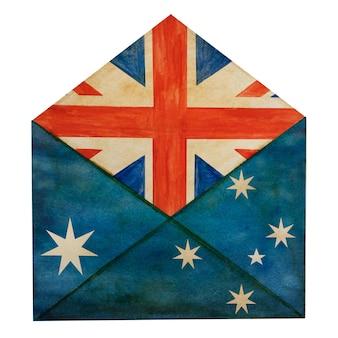 호주 국기의 국가 색으로 그려진 아름다운 우편 봉투.