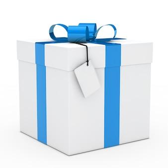 Красивый подарок с голубой лентой