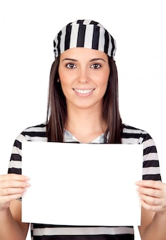 Beautiful prisoner with blank paper isolated on a over white background