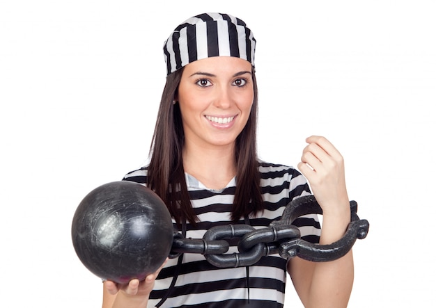 Beautiful prisoner with inmate ball isolated on a over white background