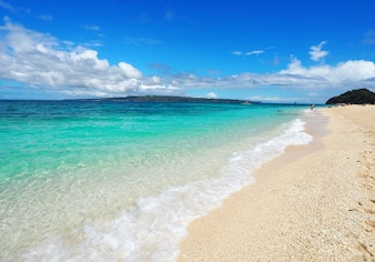 Beautiful Puka beach and blue sky at Boracay Island