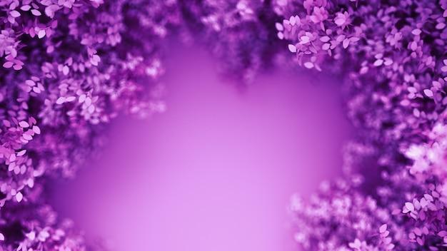 Красивый фиолетовый фон с листьями. 3d-рендеринг.