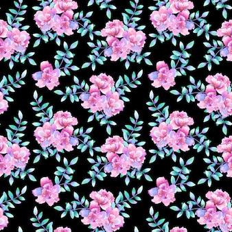 Красивые фиолетовые розовые цветы и зеленые фиолетовые ветви. цветочный фон. ручной обращается акварель иллюстрации. текстура для печати, ткани, текстиля, обоев.