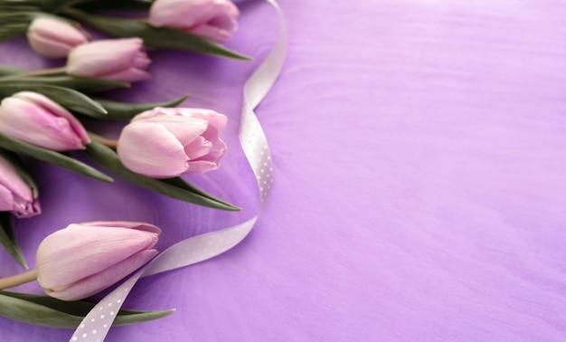紫色の背景に美しい紫色のチューリップ。春の花の背景上面図。コピースペース付きバナー