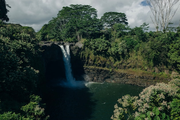 Красивые радужные водопады в раю на большом острове на гавайях. водопад вайлуа недалеко от столицы острова лихуэ на острове кауаи, гавайи.