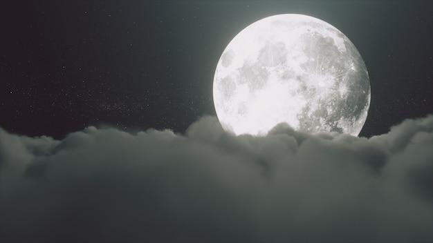 満月の美しいリアルな雲
