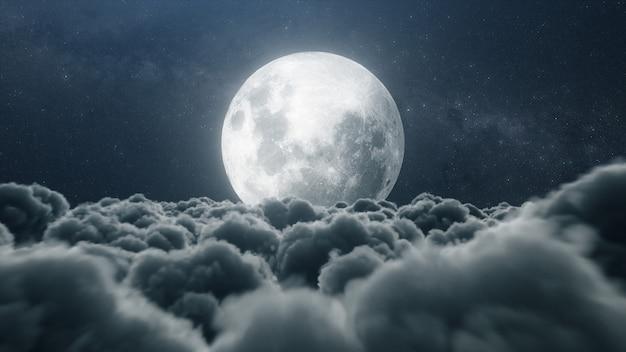 보름달과 아름 다운 현실적인 구름