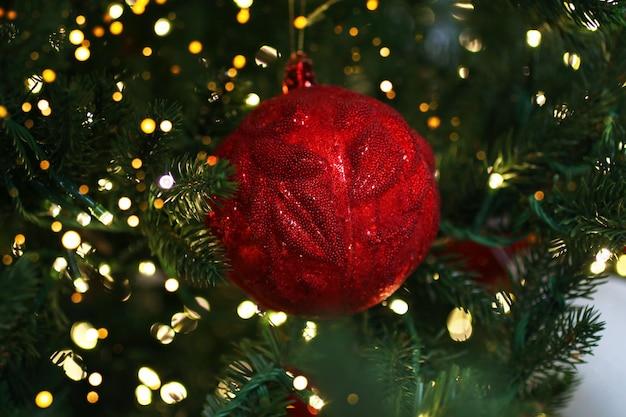 モミの枝に美しい赤いクリスマスボール。