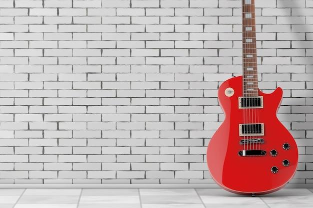 벽돌 벽 앞 복고 스타일의 아름다운 빨간 일렉트릭 기타. 3d 렌더링