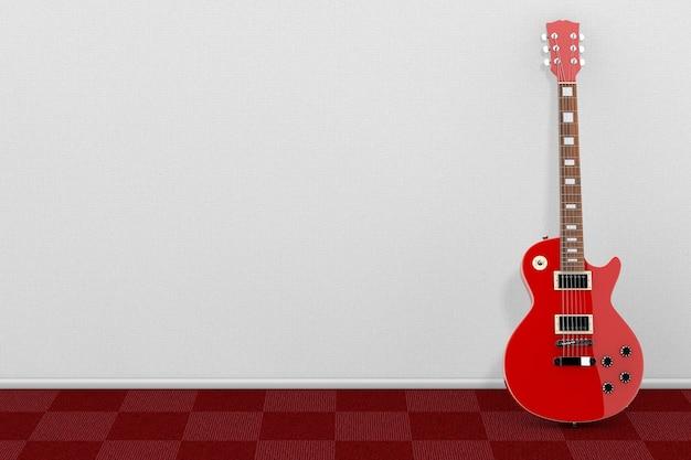 흰 벽 앞의 복고 스타일의 아름다운 빨간 일렉트릭 기타. 3d 렌더링