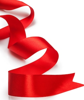 Beautiful red gift ribbon on a white background