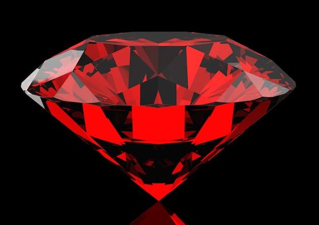어둠 속에 아름다운 붉은 루비
