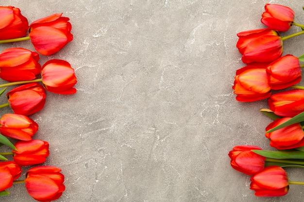 コピースペースを持つ灰色のコンクリートに美しい赤いチューリップ